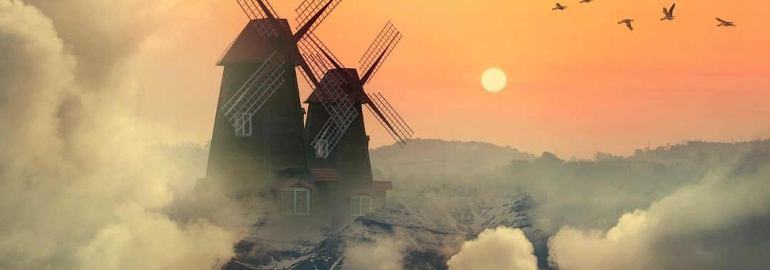 windmills, mountains, clouds